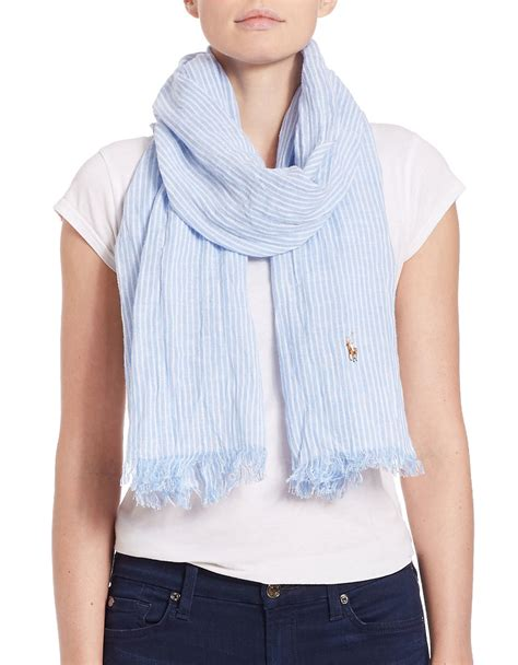 polo ralph striped fringe scarf in blue lyst
