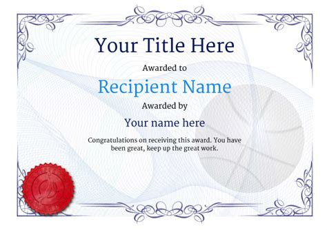 Free Basketball Certificate Templates Add Printable Badges Medals Basketball Award Templates
