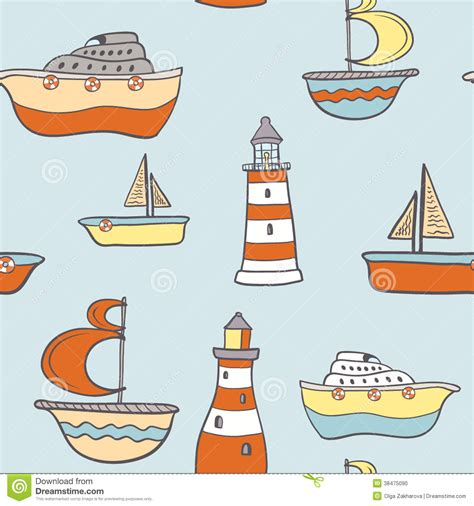 boat drawing cute cute childish seamless background with ships stock vector