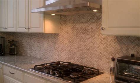 herringbone backsplash transitional kitchen