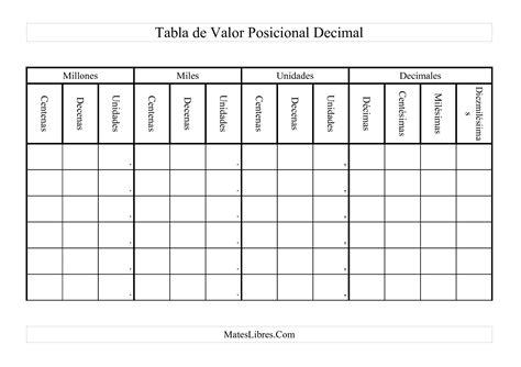 ejercicios de valor posicional para imprimir tabla de valor posicional decimal hoja de ejercicio de