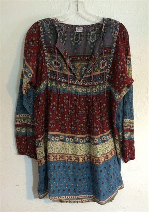 vintage india cotton gauze geeta blouse top shirt tunic hippie winter boho kate ebay