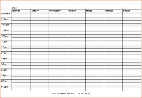 Weekly Time Schedule Template Fee Schedule Template Free Time Schedule Template