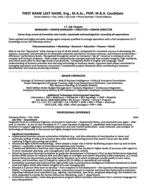 Senior Manager Resume Template by Senior Manager Resume Template Premium Resume Sles