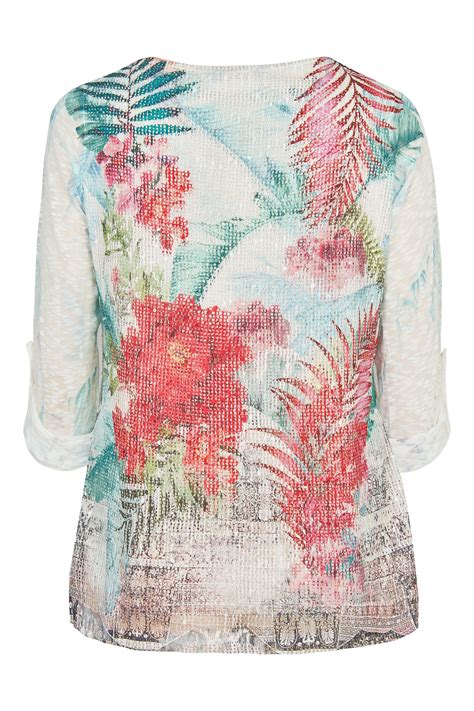 Name Card Mesh paprika white multi floral print layer top with