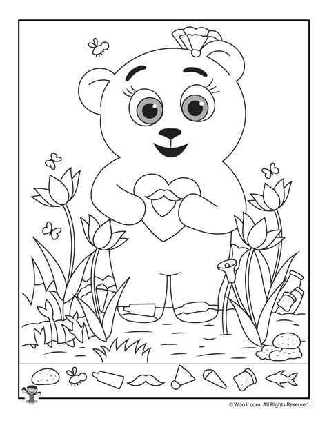 free printable hidden pictures for valentines day teddy bear hidden picture printable woo jr kids activities
