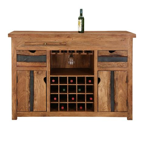 Entertainment Bar Cabinet Modern Pioneer Acacia Wood Wine Bar Entertainment Cabinet