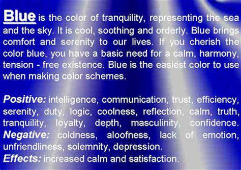 meaning of the color blue meaning of colors psychology of color personality
