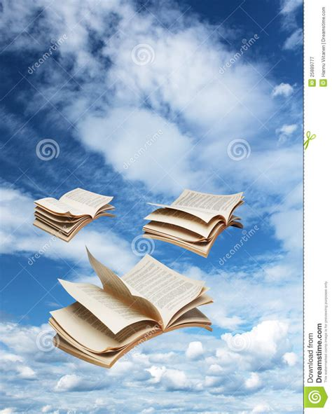 a sky of books three open books flying on blue sky stock image image