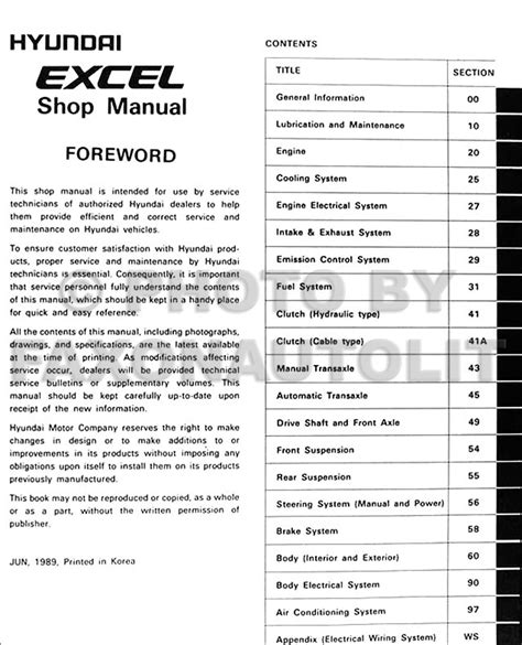 car maintenance manuals 1992 hyundai excel user handbook 1990 hyundai excel repair shop manual original