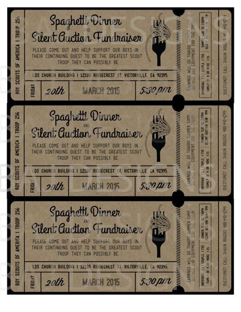 fundraiser dinner tickets template fundraiser ticket design spaghetti dinner silent by