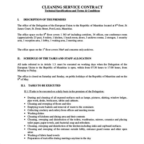 cleaning business contract template cleaning contract template 17 word pdf documents