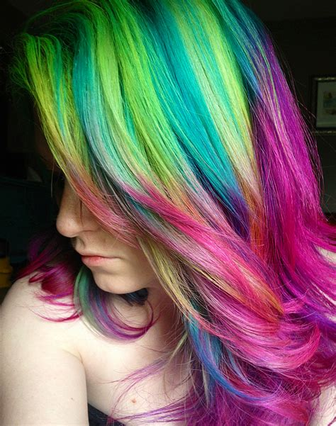 rainbow color hair ideas rainbow hair color ideas for blondes short hair 2017 pictures