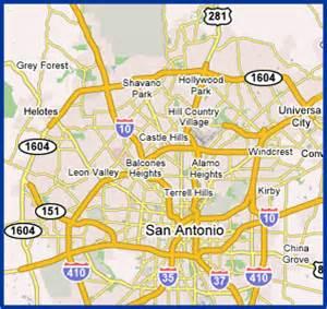 san antonio map and surrounding areas