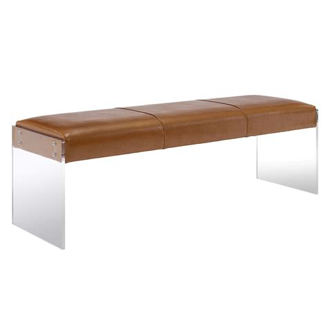 brown leather bench elphin modern brown eco leather bench eurway