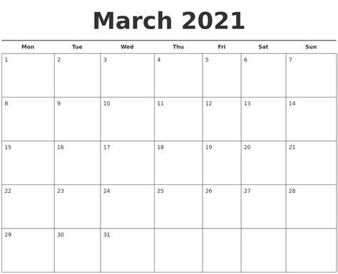 printable calendar 2014 monday start march 2021 free calendar template