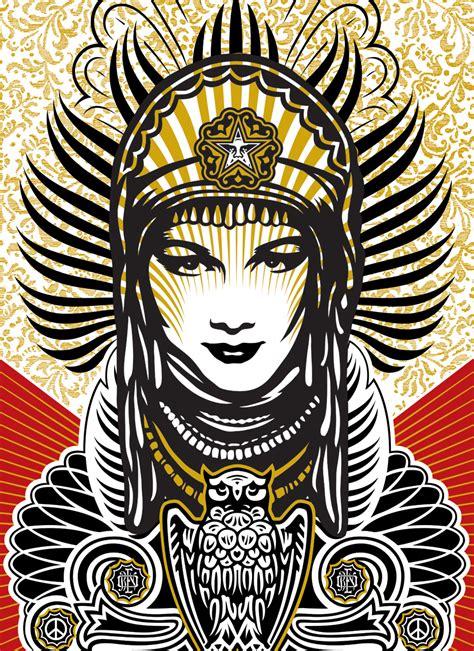 shepard fairey peace goddess print on wood 18 x 24