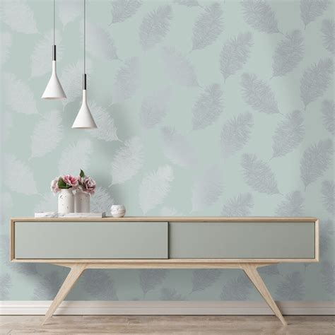 feather wallpaper home decor holden decor fawning feather teal silver metallic