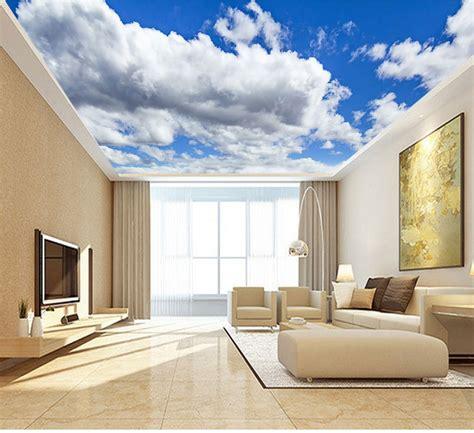 large blue sky cloud mural  ceiling mural wallpaper