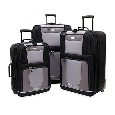 bed bath beyond luggage geoffrey beene 3 piece carnegie luggage set bed bath