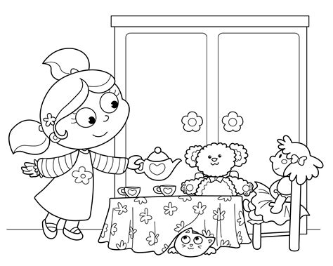 free coloring pages birthday party american girl tea party ideas kids tea party birthday
