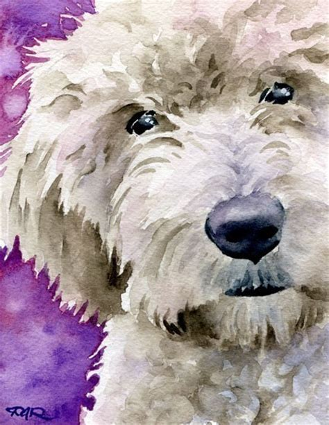 goldendoodle drawing goldendoodle watercolor signed print by