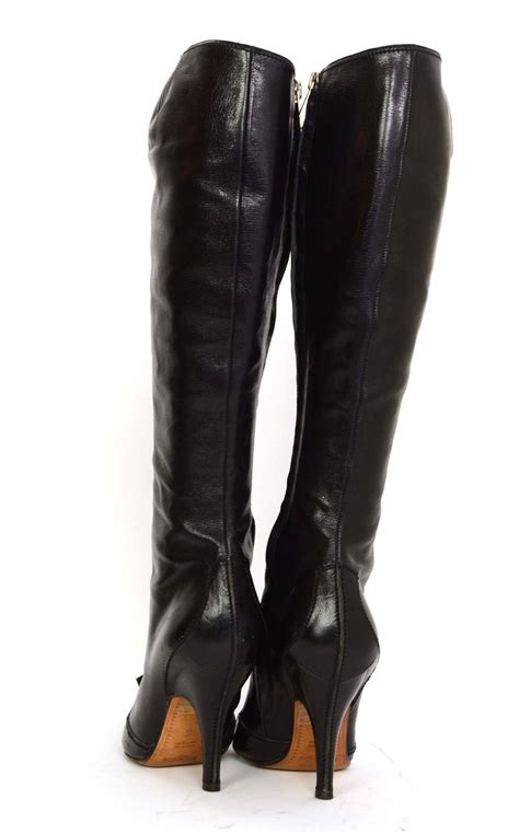 ysl boots yves laurent ysl black leather boots sz 37 5