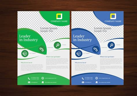 create a free flyer template blue and green vector brochure flyer design template
