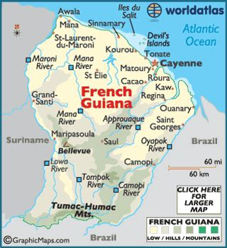 5 themes of geography guyana french guiana maps including outline and topographical