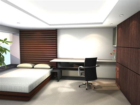 Minimalist Bedroom Office Interior Designs Small Bed Carpet Floor Office Desk