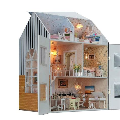 large doll house kits large diy doll house handmade villa 3d miniature wooden building model dollhouse