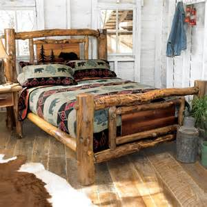 rustic lacquer finish handpeeled rustic log bed