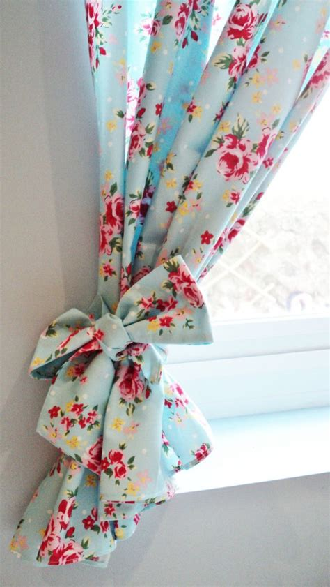shabby chic blue floral curtain kitsch retro vintage