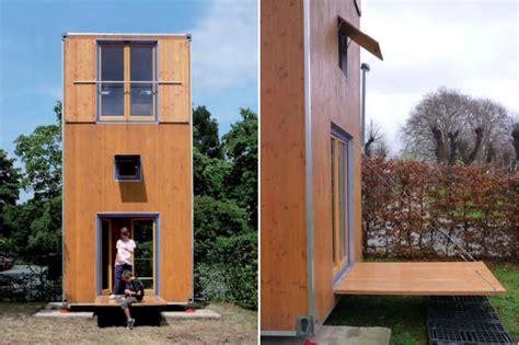 small three story house shipping container inspired homebox is a tiny movable 3 story vertical home inhabitat green