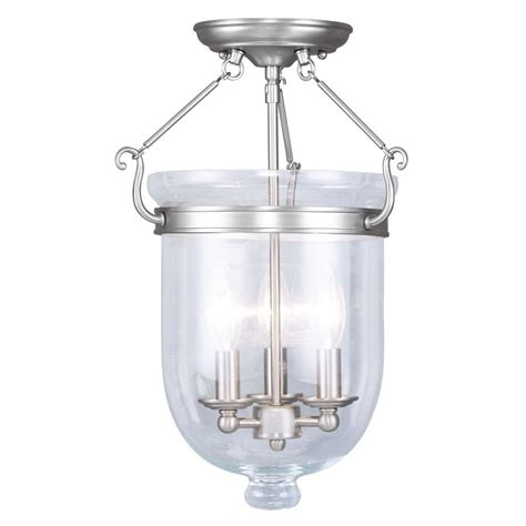 Semi Flush Glass Ceiling Light Shop Livex Lighting Jefferson 12 In W Brushed Nickel Clear Glass Semi Flush Mount Light At Lowes
