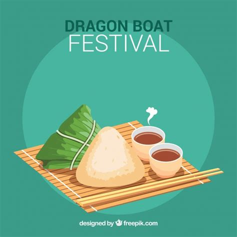 dragon boat festival and food traditional dragon boat festival meal background vector