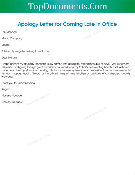 Apology Letter For Joining Late apology letter to for being late top docx apology letter for being late in office