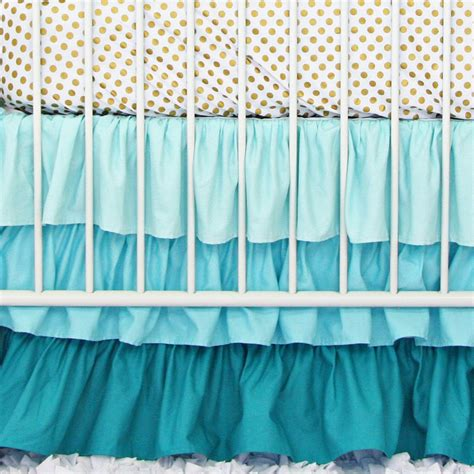 Ruffle Crib Bedding Aqua And Gold Dot Ruffle Bumperless Crib Bedding Caden