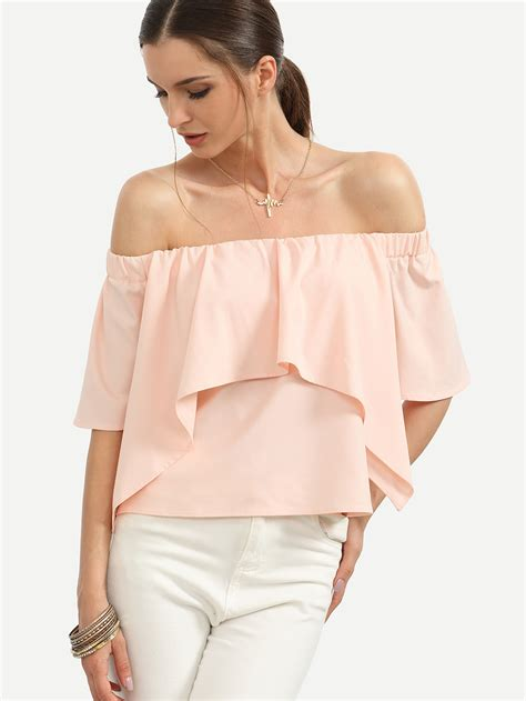Shoulder Tank Blouse Pink flounce layered neckline crop blouse shein sheinside