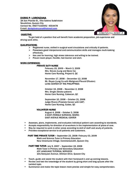 Resume Exles In The Philippines Sle Resume Philippines Gallery Creawizard