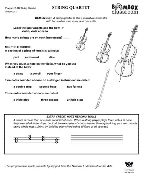 String Worksheets - string family worksheet geersc