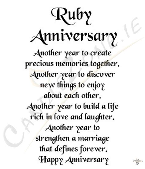 Ruby Wedding Anniversary Quotes 40th anniversary poems quotes quotesgram