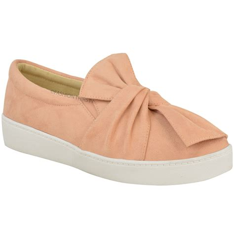 flat shoes with bows new womens trainers faux suede slip on flat bow
