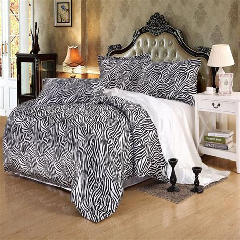 bedding set gold leopard bed linen silk satin sheets soft