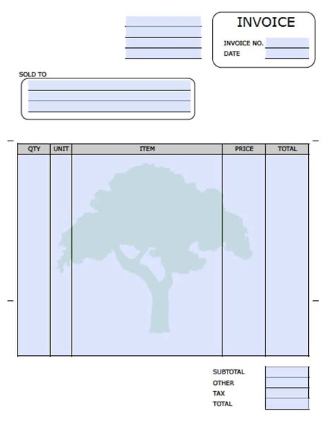 tree removal receipt template free landscaping lawn care service invoice template