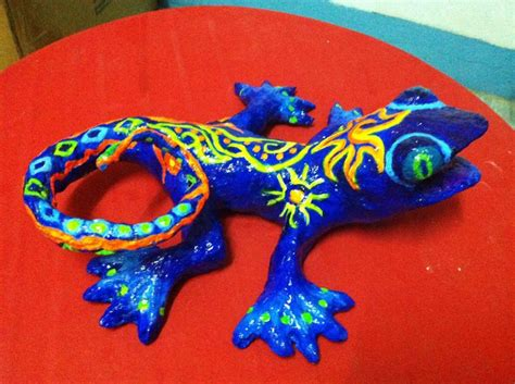 Paper Mache Lizard Made Out Of Recycled Materials By Li Li