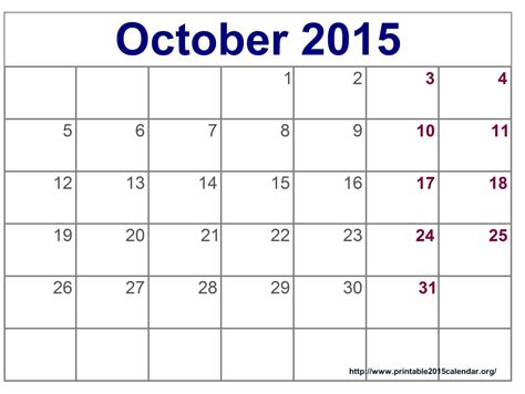 printable monthly calendar for october 2015 blank calendar free printable calendar template 2016