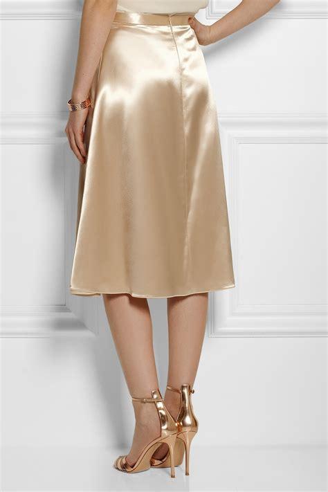 christopher satin midi skirt in metallic lyst
