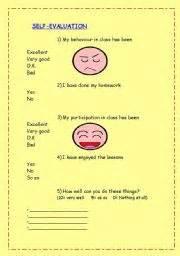 evaluation worksheet template esl worksheets for beginners self evaluation sheet