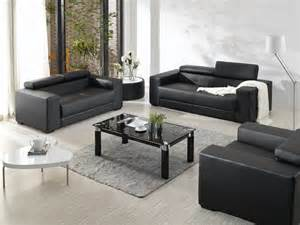 Black Leather Sofa Set Modern Black Leather Sofa Set